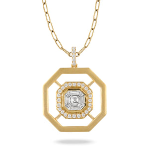 Diamond & 18K Gold Octagonal Pendant