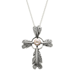 Grainger McKoy Silver Feather Cross Pearl Pendant Necklace