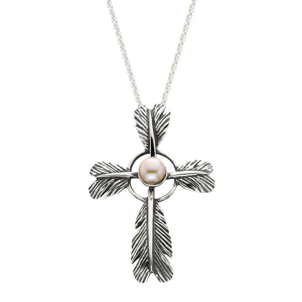 Grainger McKoy Feather Cross Pendant with Pearl