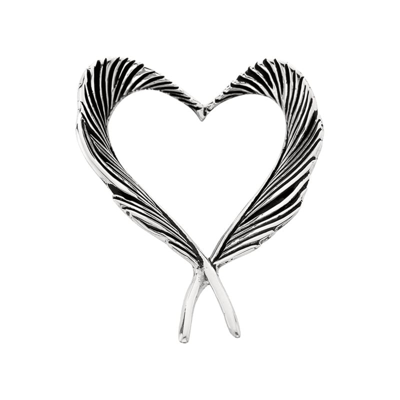 Grainger McKoy Sterling Silver Heart Feather Pin
