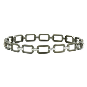 Freida Rothman Silver & Black Chain Link Slide Bangle