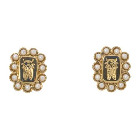 Goldbug Crest Pearl Earrings
