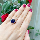 Estate 5.17ct Sapphire & Half-Moon Diamond Platinum Ring