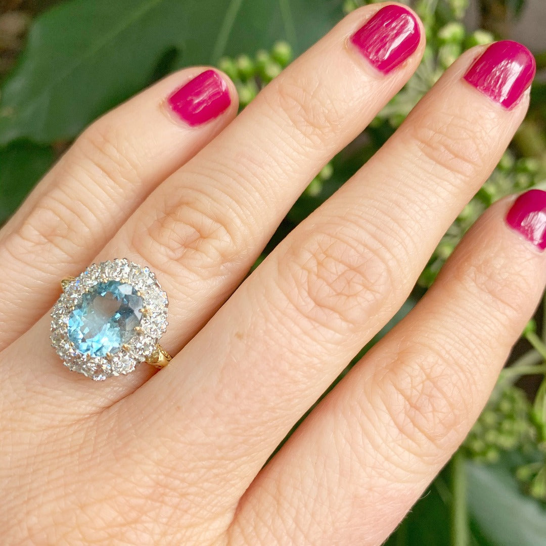 Victorian 2.25ct Aquamarine & Diamond Halo Engagement Ring