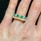 Emerald-Cut Diamond & Round Diamond Platinum Eternity Band