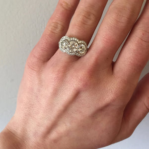 3-Across Bezel Set Diamond Cluster Ring