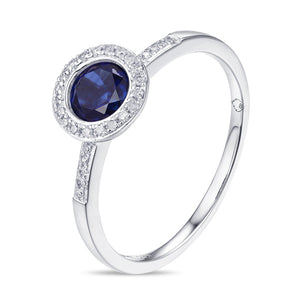 Sapphire & Diamond Halo 14K White Gold Ring