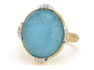 JudeFrances Lisse North South Diamond Pavé Oval Stone Ring