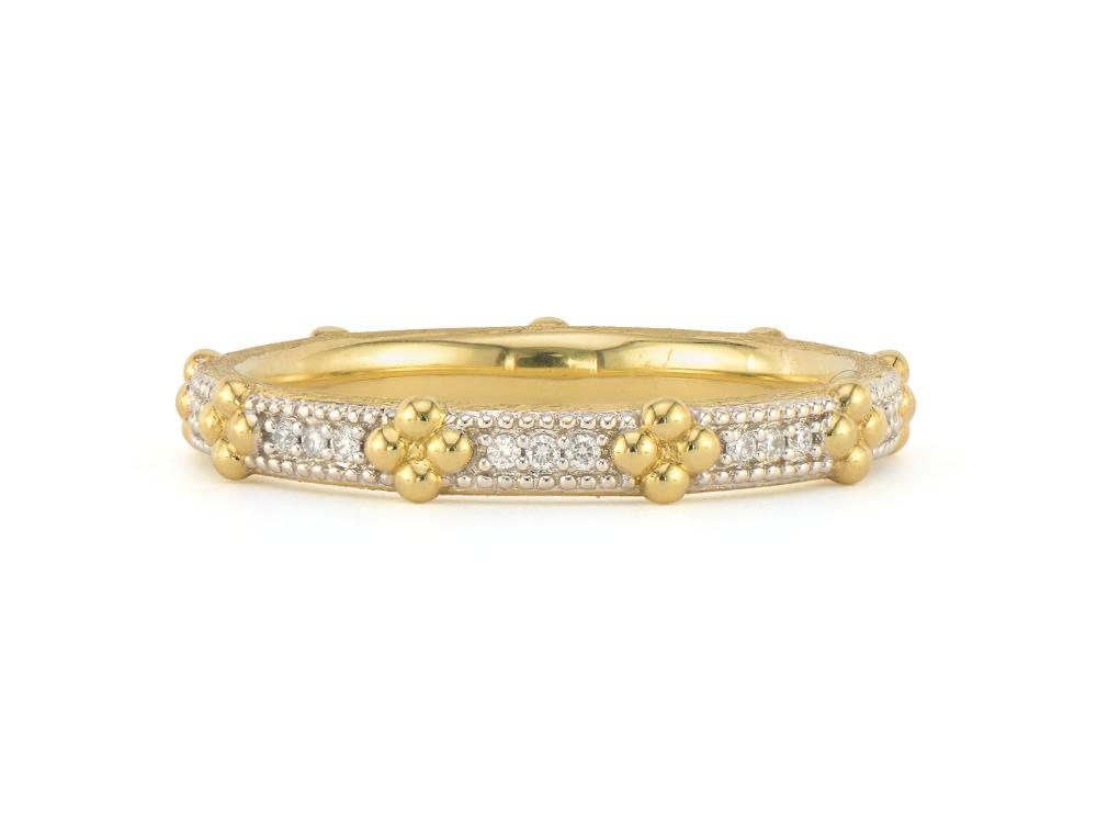 JudeFrances Provence Beaded Quad Pave Band