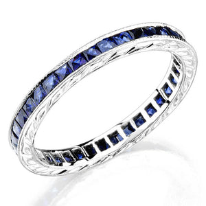 Sapphire Channel Engraved 18K White Gold Eternity Band