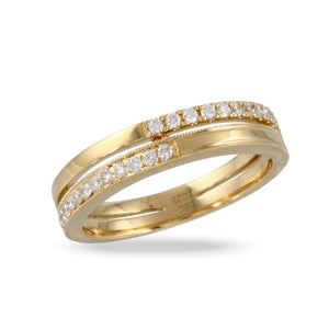 Diamond 18K Yellow Gold Double Band Ring