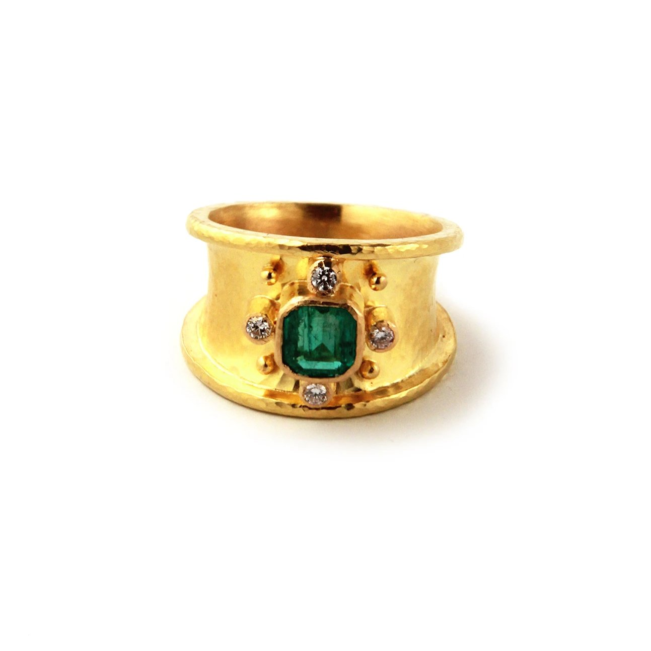 Elizabeth Locke Emerald & Diamond Cigar Band