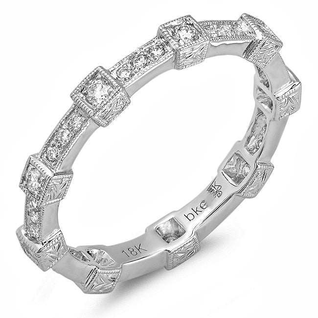 Diamond Milgrain 18K White Gold Eternity Band
