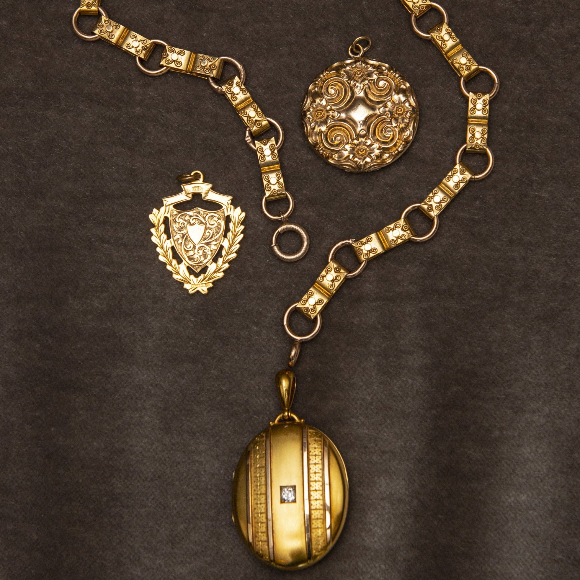 Victorian Rolled Gold Fob Medal Shield Fob Pendant