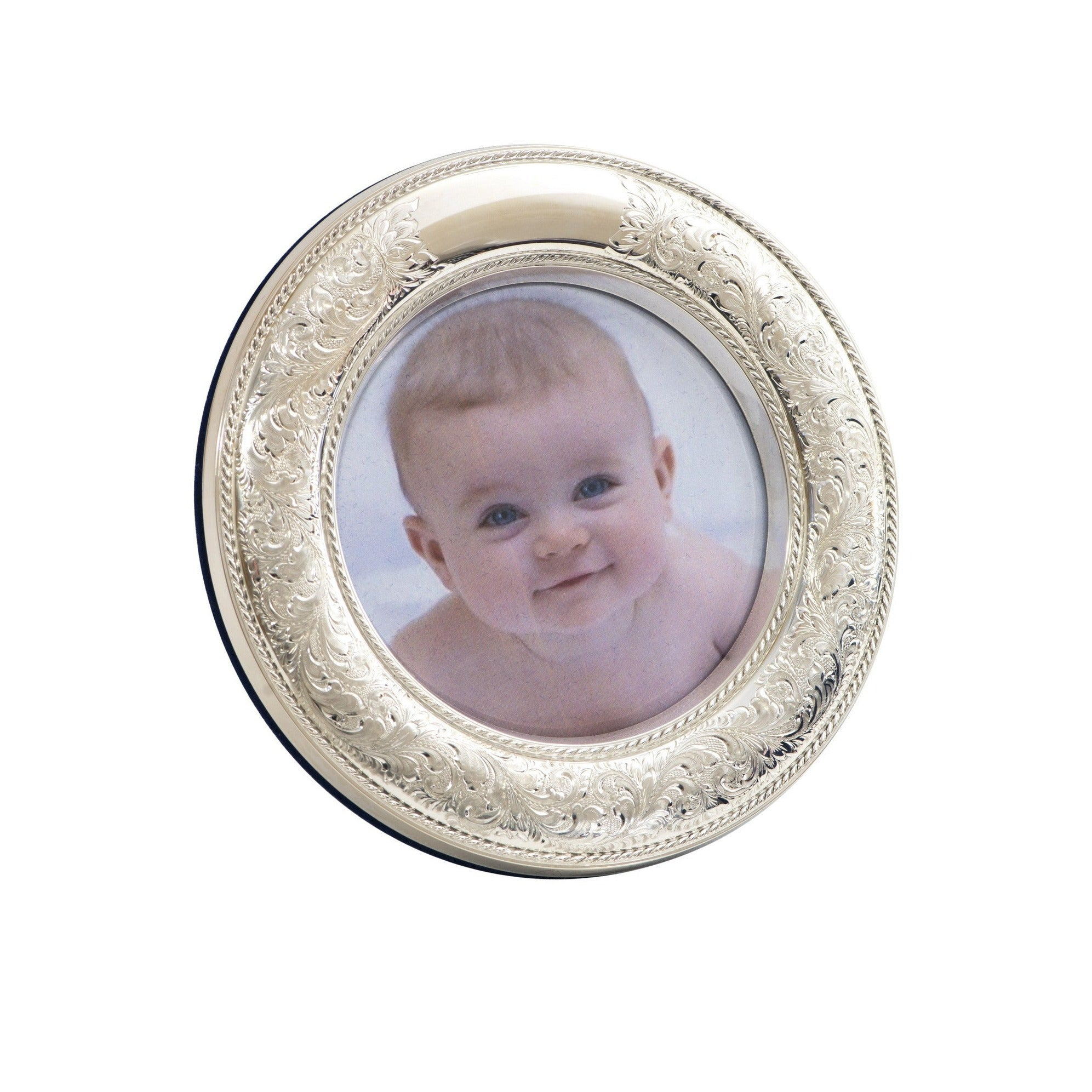 "Nostalgia 4"" Round Sterling Silver Picture Frame"