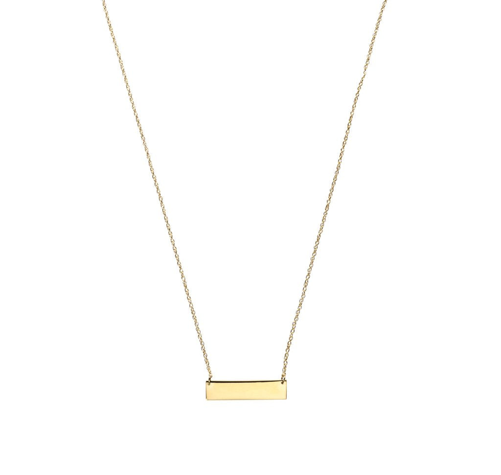 Engravable 22K Gold Plated Bar Necklace