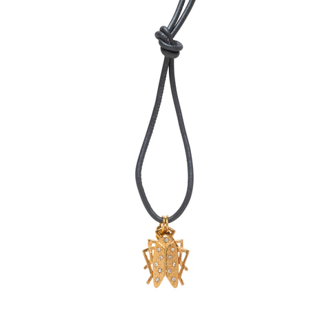 Shining Star Goldbug Charm on Leather Cord