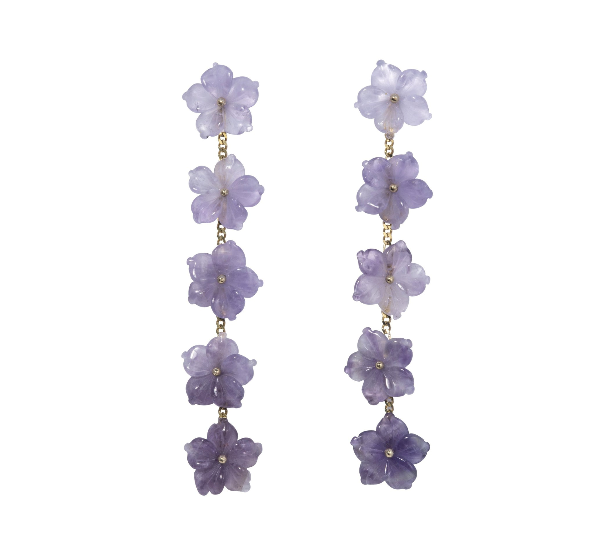 The Mini Collection Amethyst Meeting Street Multi-Flower Drop Earrings