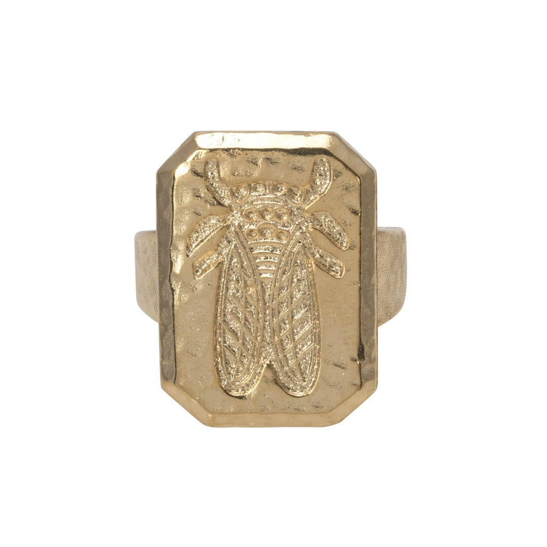 Goldbug Hammered Crest Ring