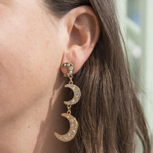 Goldbug Crescent Moon Triple Drop Earrings
