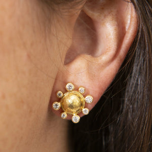 Elizabeth Locke Diamond & Gold Dome Stud Earrings