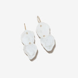 Mizuki Double Petal Pearl Diamond Earrings