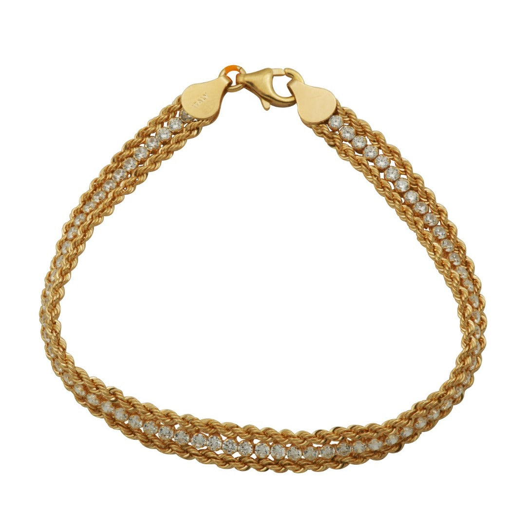 Charles Garnier Sterling silver double rope bracelet with cubic zirconia stone accents and 18K yellow gold finish.  Length: 7.5""