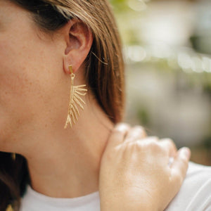 Goldbug Palmetto Frond Drop Earrings