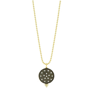 Freida Rothman Gold & Black Pave Disc Pendant Necklace