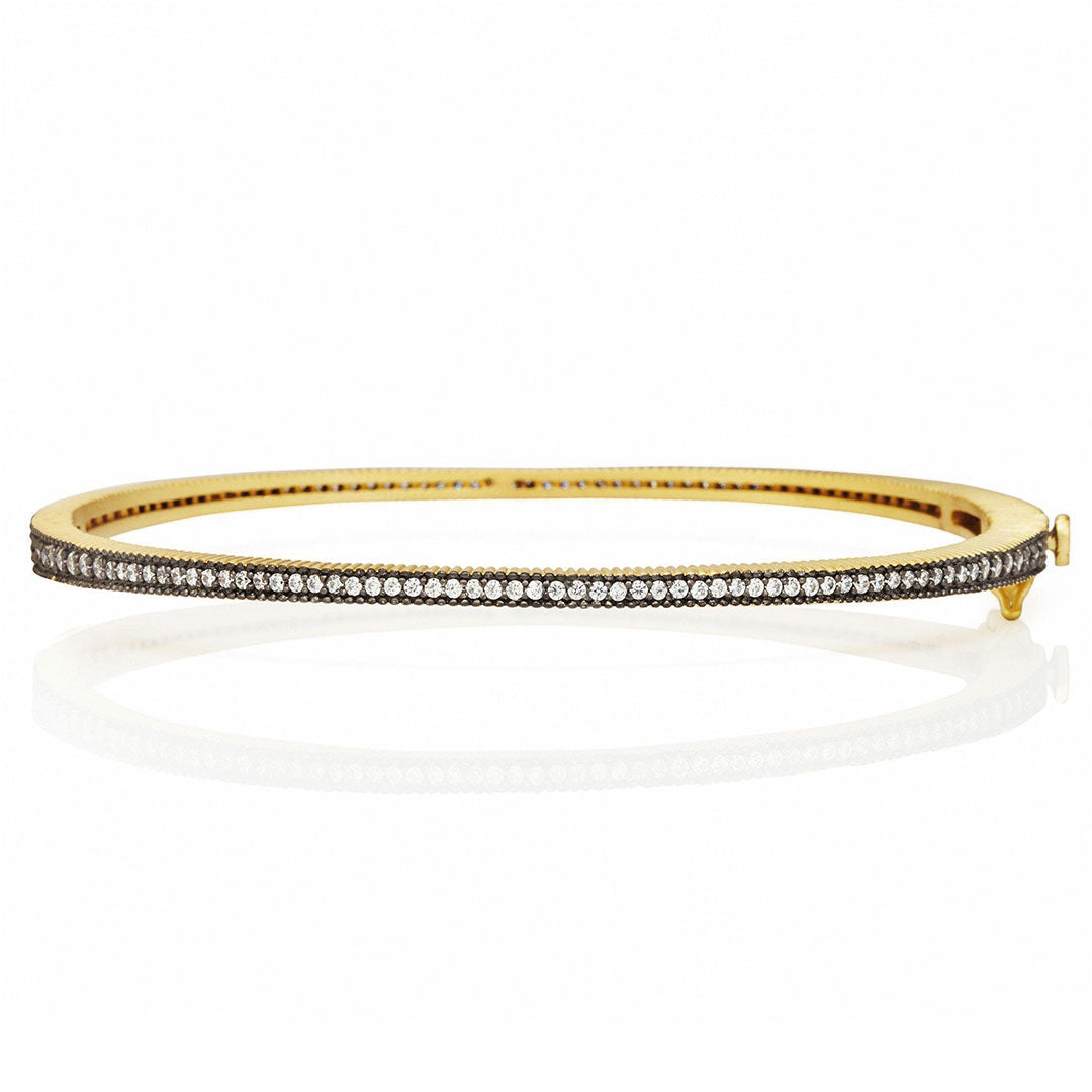 Freida Rothman Black & Gold Signature Thin Pavé Hinge Bangle