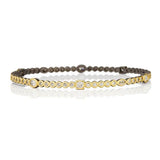 Freida Rothman Gold & Black Signature Bezel Stone Hinge Bangle