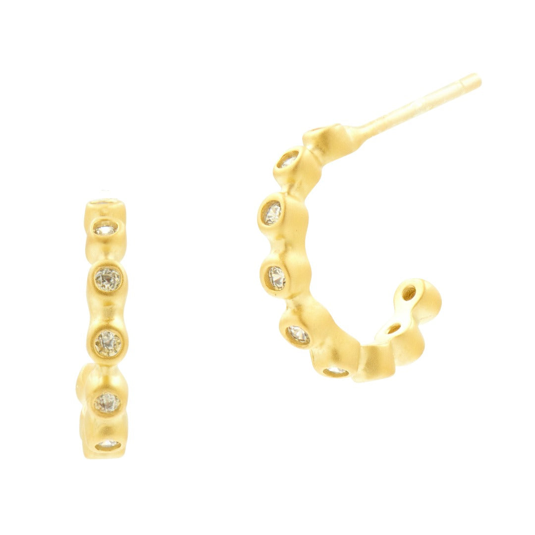 Freida Rothman Gold Bezel Huggie Hoop Earrings