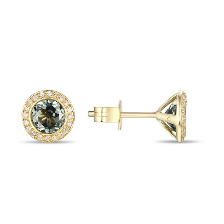Green Amethyst & Diamond Halo 14K Gold Stud Earrings