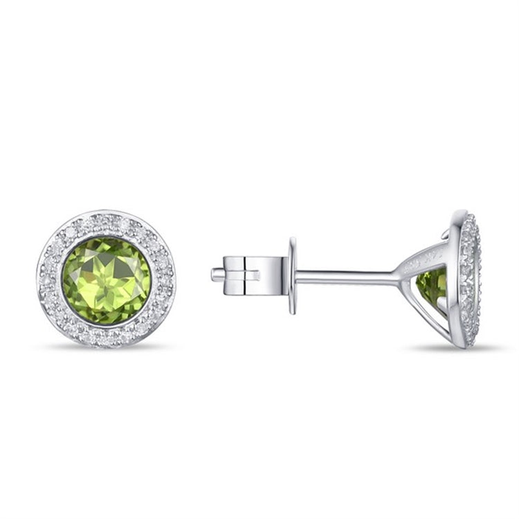 Peridot & Diamond Halo 14K Gold Stud Earrings
