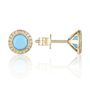 Turquoise & Diamond Halo 14K Yellow Gold Stud Earrings