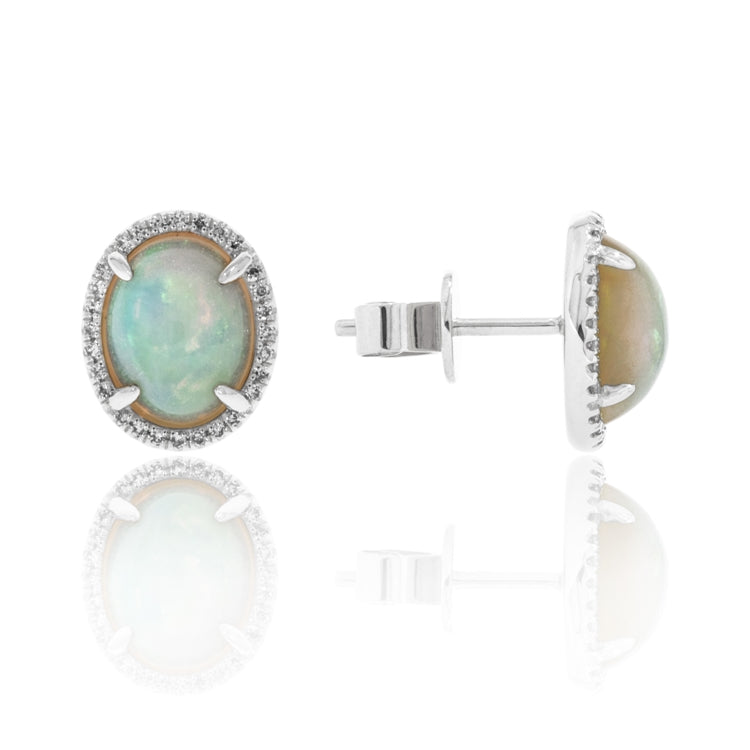 Oval Opal & Diamond Halo 14K White Gold Earrings