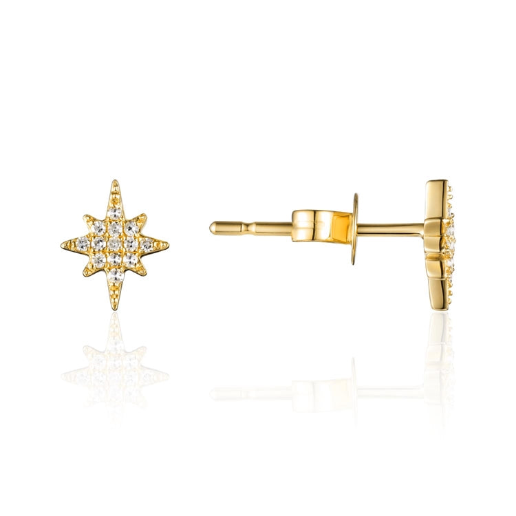 Diamond Starburst 14K Yellow Gold Stud Earrings