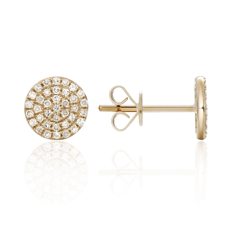 Diamond Pave 14K Yellow Gold Round Stud Earrings