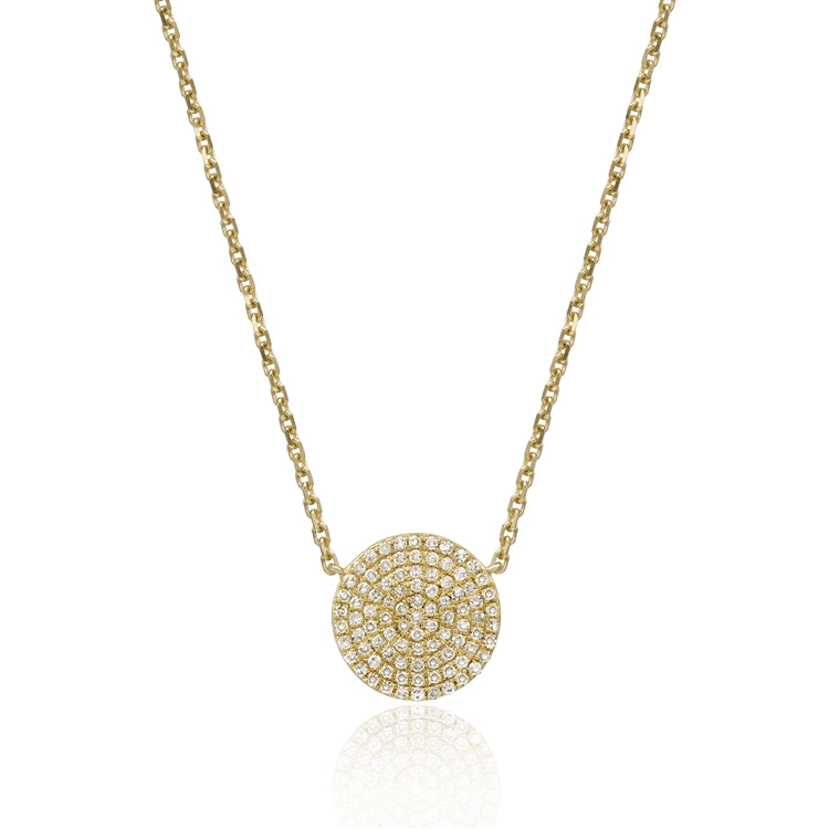 .28ct Diamond Pave 14K Yellow Gold Pendant Necklace