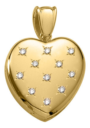 Gold Diamond Heart Locket Necklace