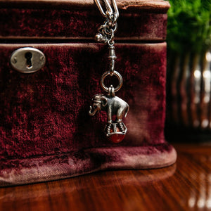 Dudley VanDyke Silver Elephant Fob with Coral