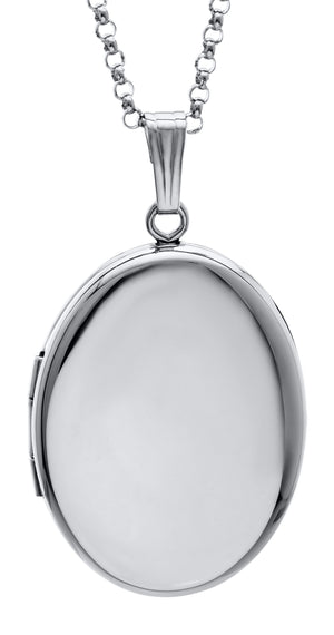 Sterling Silver Small Oval Locket Necklace