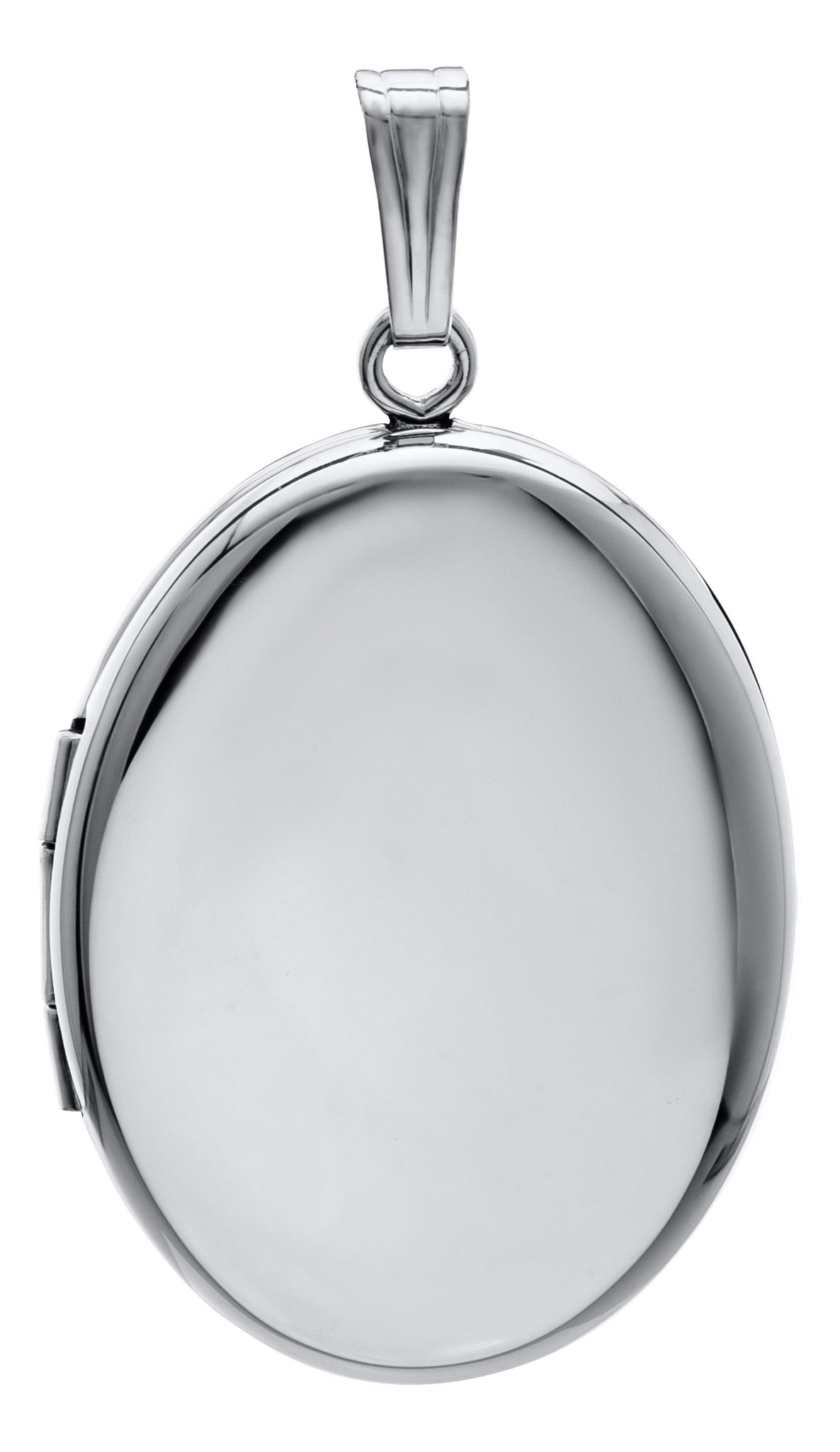 An adult-size plain polished sterling silver small oval locket on a Rolo chain necklace.  Locket: 25 x 20mm  Chain length: 20""
