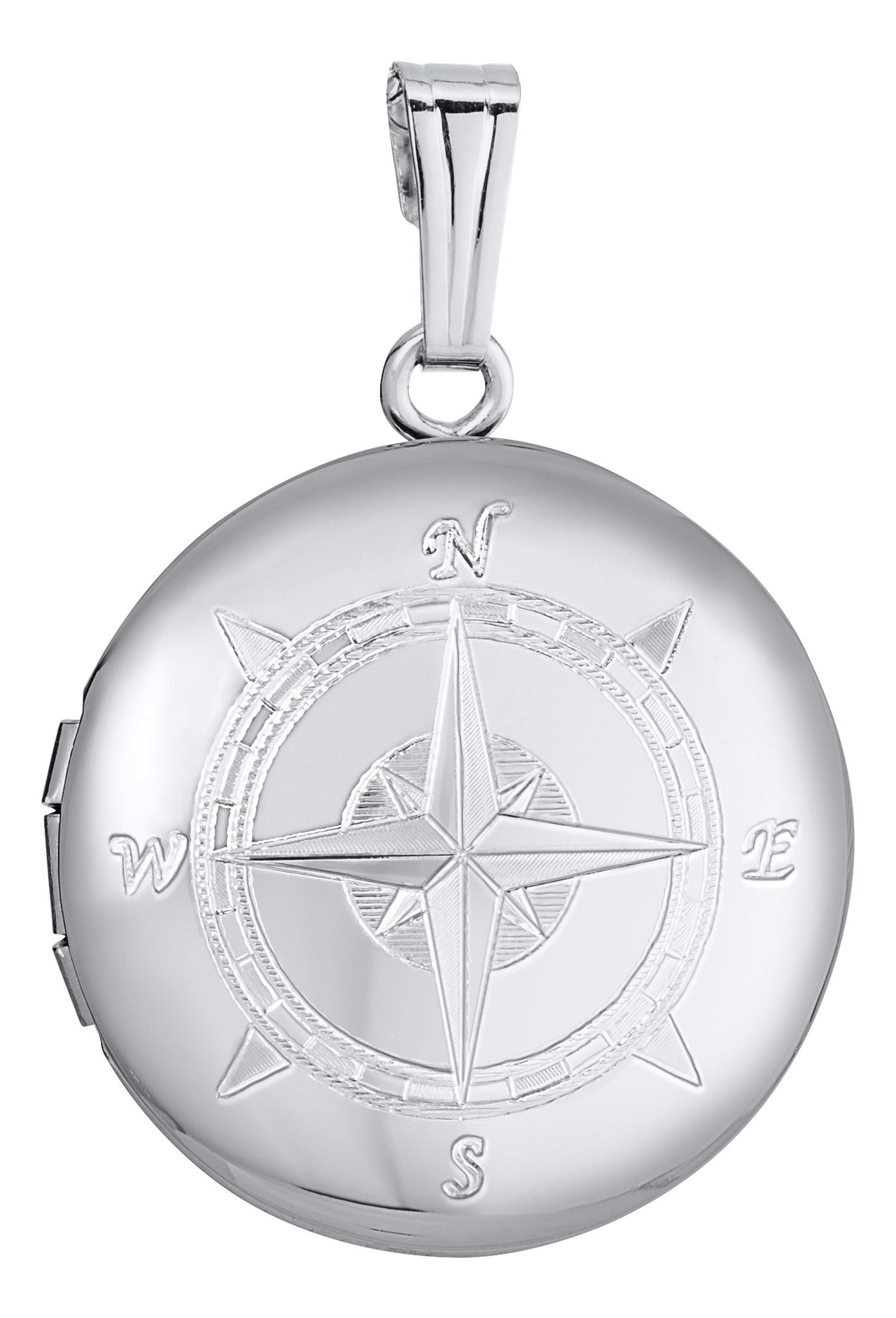 Sterling Silver Round Compass Locket Necklace