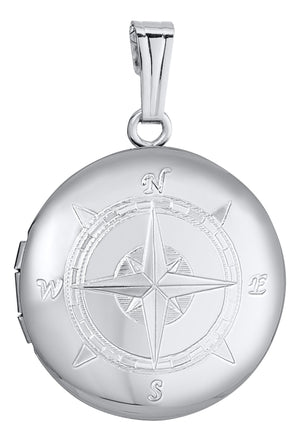 An adult-size polished sterling silver round compass locket on a Rolo chain necklace. Optional machine engraving is available for the back of the locket.  Locket: 19mm  Chain length: 18""