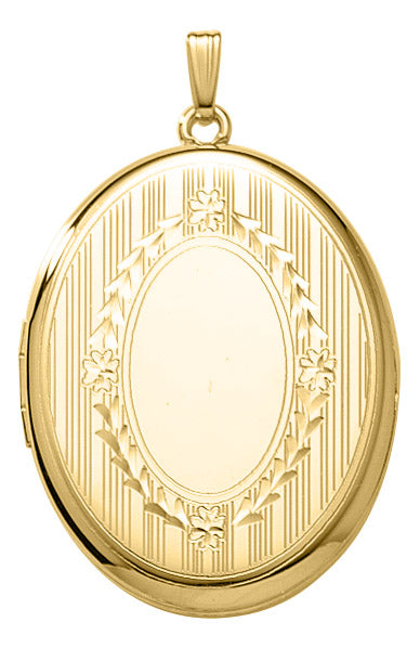 14K Gold-Filled Engraved Large Oval Locket Necklace