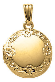 Gold-Filled Round Floral Locket Necklace