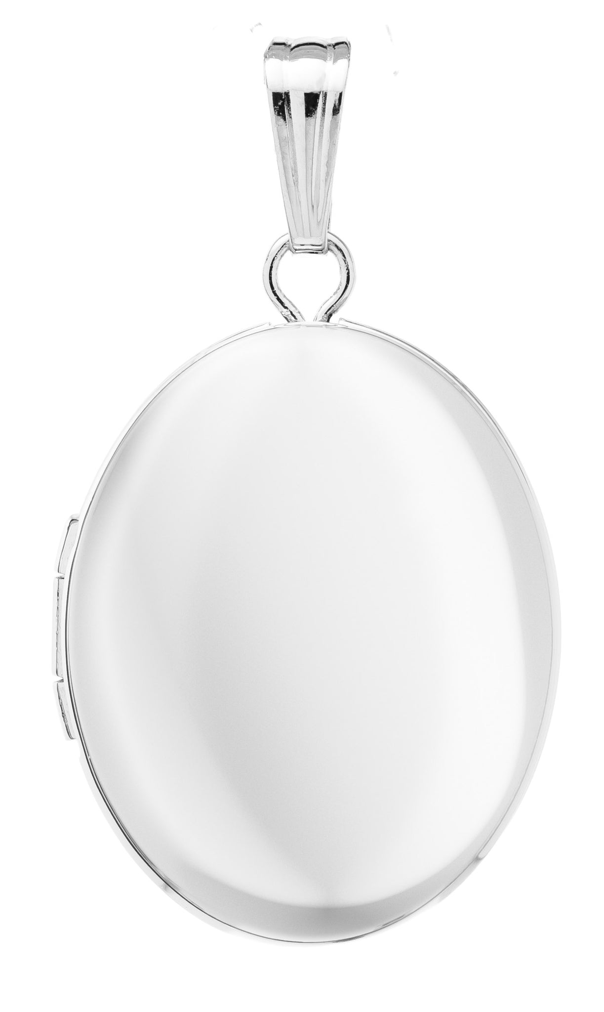 An adult-size plain polished sterling silver extra small oval locket on a Rolo chain necklace.  Locket: 17 x 14mm  Chain length: 18""