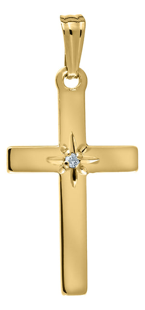 14K Gold & Diamond Cross Pendant Necklace