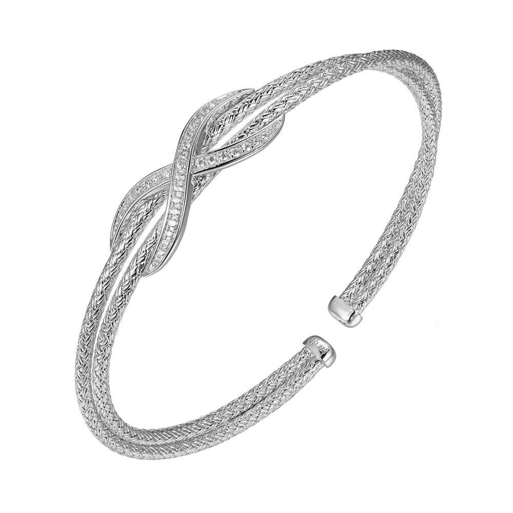 CZ Sterling Silver Double Mesh Cuff Bangle